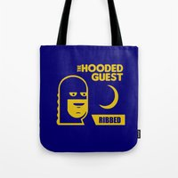 will ferrell Tote Bags featuring funny condom by Buby87
