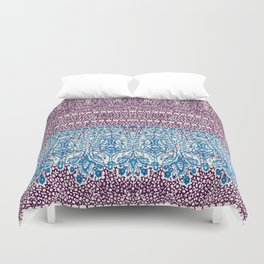 big paisley with floral lines on burgundy Duvet Cover