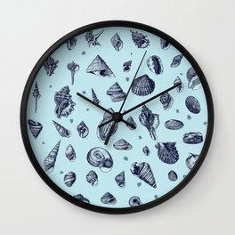 Sea shells pattern in blues Wall Clock