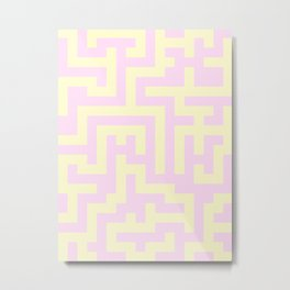 Cream Yellow and Pink Lace Labyrinth Metal Print
