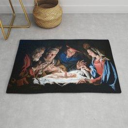 Adoration of the Shepherds Christmas Nativity Rug