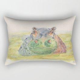 Ink Animals of Africa - Harriet Hippo Rectangular Pillow