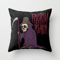 scott pilgrim Throw Pillows featuring PilGrim Reaper by Chris Piascik
