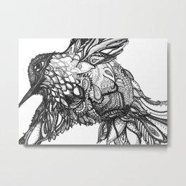 Zentangle Hummingbird Black and White Metal Print