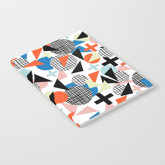 Kimbah - abstract art print shapes modern geometric retro cool colorful hipster gift idea dorm room  Notebook