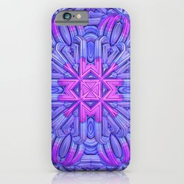 Eight-sided Mandala in blue and fuchsia tones iPhone Case
