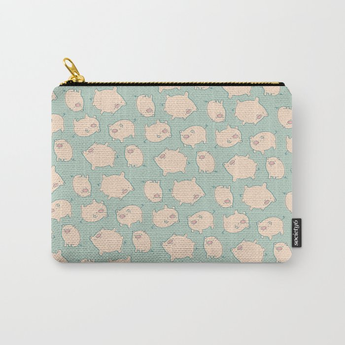 small pigs (teal) Carry-All Pouch