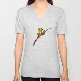 Cute Green Tree Frog on a Branch Unisex V-Neck