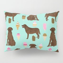 chocolate lab ice cream dog breed pet portrait gifts for labrador retriever lovers Pillow Sham
