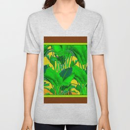COFFEE BROWN TROPICAL GREEN & GOLD FOLIAGE ART Unisex V-Neck