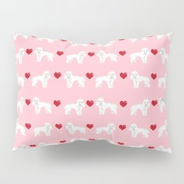 Toy Poodle white poodles hearts love dog breed pet portrait gifts Pillow Sham