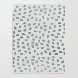 Simply Ink Splotch Indigo Blue on Lunar Gray Poster