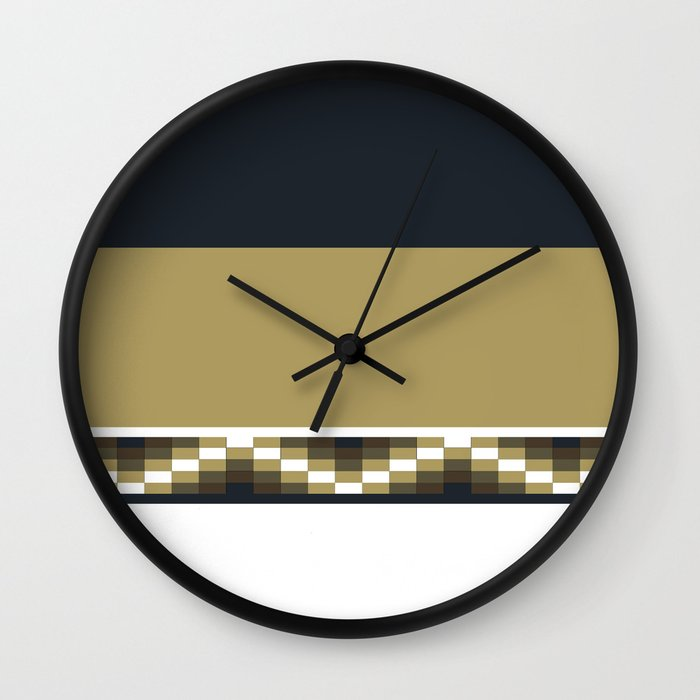 Block Wave Illustration 2 Thick Bold Horizontal Lines Digital Artwork Wall Clock