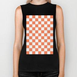 Checker (Coral/White) Biker Tank