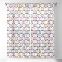 Pastel Rainbow Desert Succulents Sheer Curtain