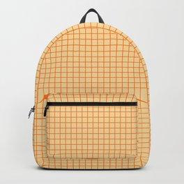 Orange small grid pattern Backpack