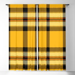 Argyle Fabric Plaid Pattern Autumn Colors Yellow and Black Blackout Curtain