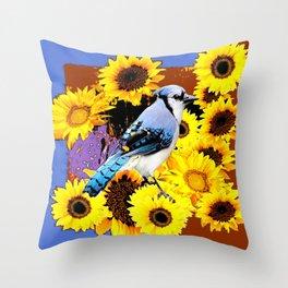 MODERN BLUE  JAY & COFFEE BROWN SUNFLOWERS Throw Pillow