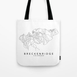 BRECKENRIDGE // Colorado Trail Map Black and White Lines Minimalist Ski & Snowboard Illustration Tote Bag