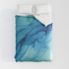 Emerald Sea Waves - Abstract Ombre Flowing Ink Comforters