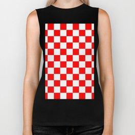 Checkered - White and Red Biker Tank