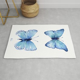 Two Blue Butterflies Watercolor Rug