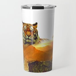 Tiger Double Exposure Travel Mug