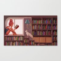 bookworm Canvas Prints featuring Bookworm by Joifish