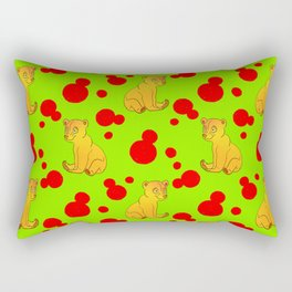 Little bears. Cute adorable funny pink baby bear cubs and bold blue retro dots green pattern Rectangular Pillow