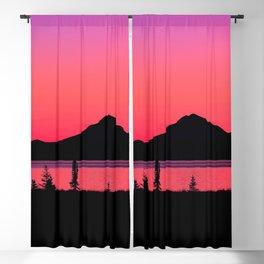 Pink Sunset Silhouette - Mt. Redoubt, Alaska Blackout Curtain