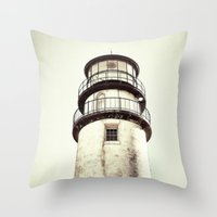 cape cod Throw Pillows featuring cape cod lighthouse by marie grady palcic