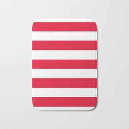 Medium candy apple red - solid color - white stripes pattern Bath Mat