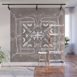 Square Mandala Butterfly Floral Rustic Line Drawing Boho Spirituality Yoga Focus Divine Meditation Wall Mural