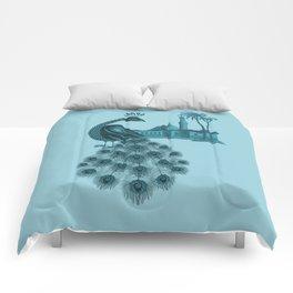 Blue peacock oriental dream Comforters
