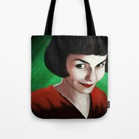 amelie Tote Bags featuring Amelie by Jon Cain