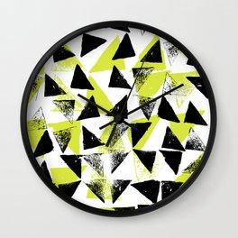 Signs - black & lime green Wall Clock
