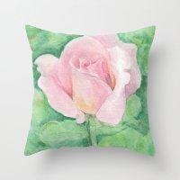 tiffany Throw Pillows featuring Tiffany Rose by Annie Mason