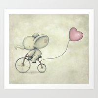 Cute Elephant riding his bike Art Print