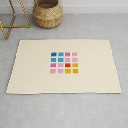 Classic Colorful Abstract Minimal Retro 70s Style Rubix Cube Rug