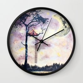 Surreal Mixed Media Art by Katie Hofacker Wall Clock