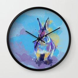 Bunny Dream - Fluffy rabbit illustration, cute animal art Wall Clock