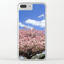 pink flowering tree Clear iPhone Case