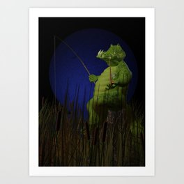 Fishing with pipe. Art Print