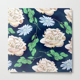 Rose Garden Navy Blue Antique Floral Pattern Metal Print