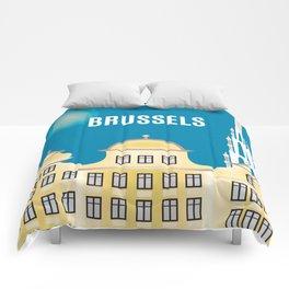 Brussels, Belgium - Skyline Illustration by Loose Petals Comforters