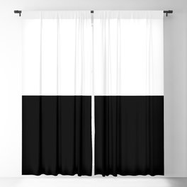 Abstract Black and White Horizon Color Block Blackout Curtain