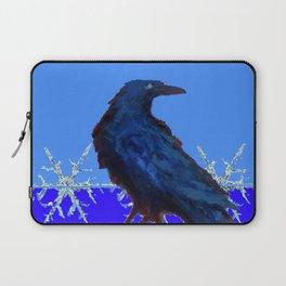 BLUE CROW WINTER SNOWFLAKE ART Laptop Sleeve