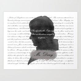 Mr. Darcy - Quote about Elizabeth Bennet Art Print