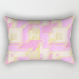 Pink and Yellow Geometric Abstract Rectangular Pillow