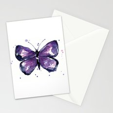Purple Butterfly Watercolor Abstract Animal Art Stationery Cards